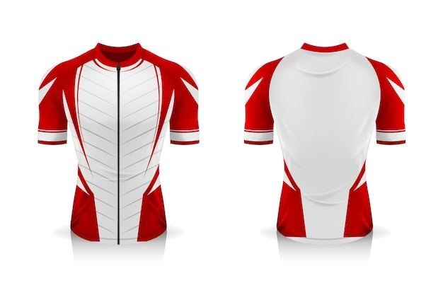 Especificação do modelo cycling jersey. mock up sport t shirt uniforme de gola redonda Vetor Premium
