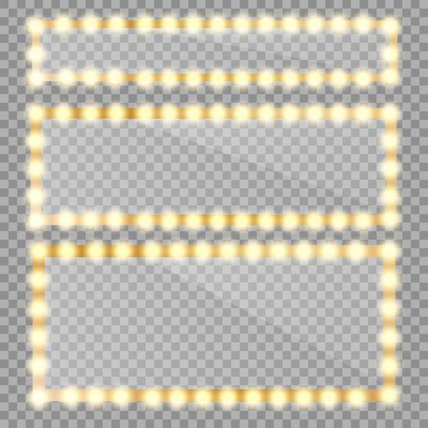 Espelho webmakeup isolado com luzes douradas. moldura de espelhos de círculo e retângulo com lâmpadas e reflexão espelhada. Vetor Premium