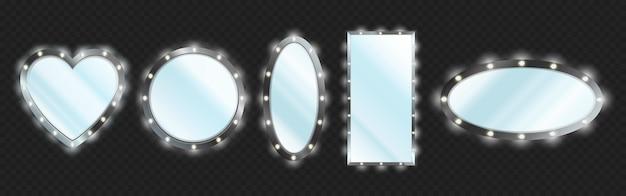 Espelhos de maquiagem em moldura preta com lâmpadas isoladas em fundo transparente Vetor grátis