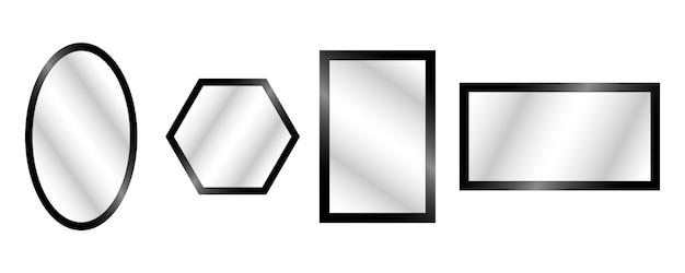 Espelhos realistas de vetor definido com reflexão embaçada. Vetor Premium