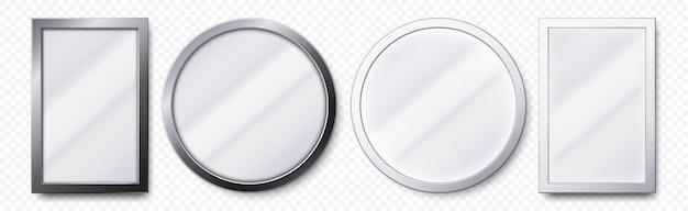 Espelhos realistas. quadro de espelho redondo e retangular de metal, conjunto de modelo de espelhos brancos Vetor Premium