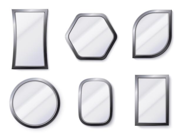 Espelhos realistas. superfície de espelho reflexivo no quadro, espelhamento de vidro e espelho redondo 3d isolado de ilustração vetorial Vetor Premium
