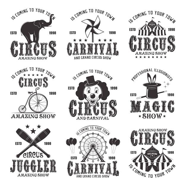 Espetáculo incrível de circo conjunto de emblemas, etiquetas, logotipos e carimbos tipográficos pretos vintage em fundo branco Vetor Premium