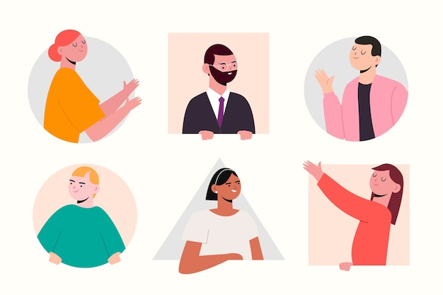 Espiando a coleção de pessoas de ilustração Vetor grátis