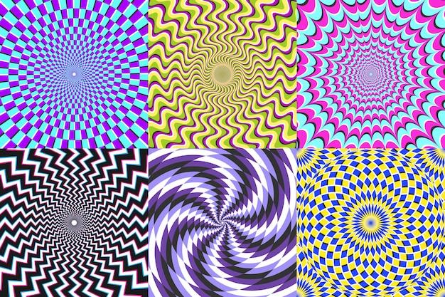Espiral psicodélica. ilusão de ótica, espirais de ilusão e conjunto de ilustração vetorial espiral colorida hipnose abstração Vetor Premium