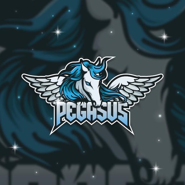 Esport logo gamer pegasus Vetor Premium
