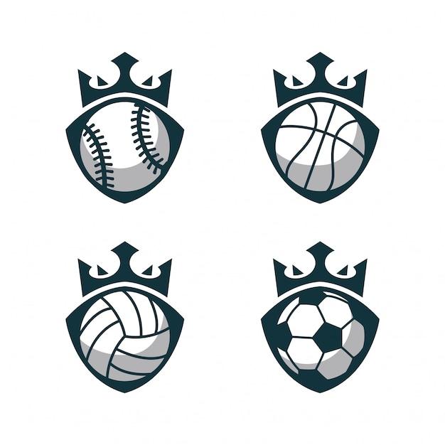 Esporte bola logo com coroa Vetor Premium