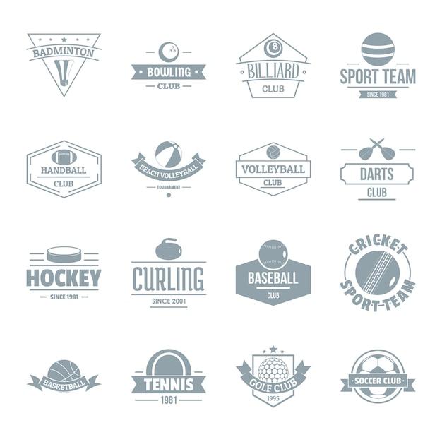 Esporte bolas logotipo conjunto de ícones Vetor Premium