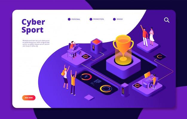 Esporte cibernético. esports stream online video game gamer tournament consola de jogos de computador competitivo mercado landing page Vetor Premium