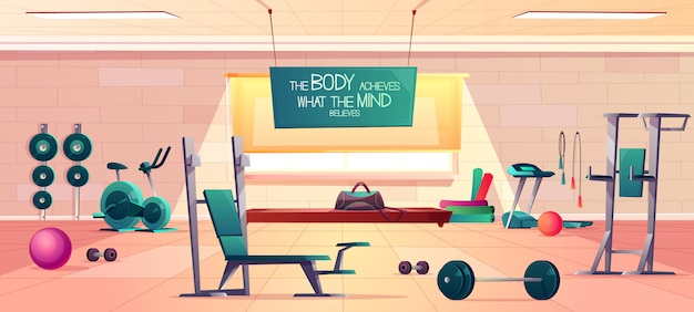 Esporte clube ginásio interior espaçoso vetor dos desenhos animados com vários equipamentos de fitness e máquinas para treino do corpo Vetor grátis