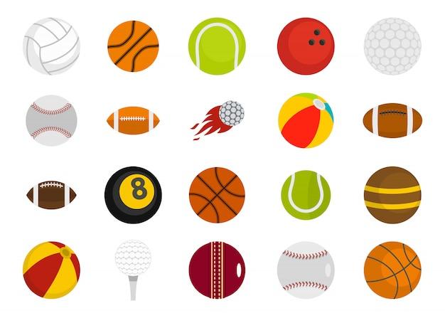 Esporte conjunto de ícones de bolas. plano conjunto de esporte coleção de ícones de vetor de bolas isolada Vetor Premium