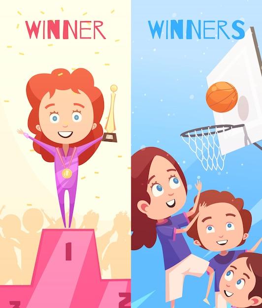 Esporte crianças banners verticais Vetor grátis