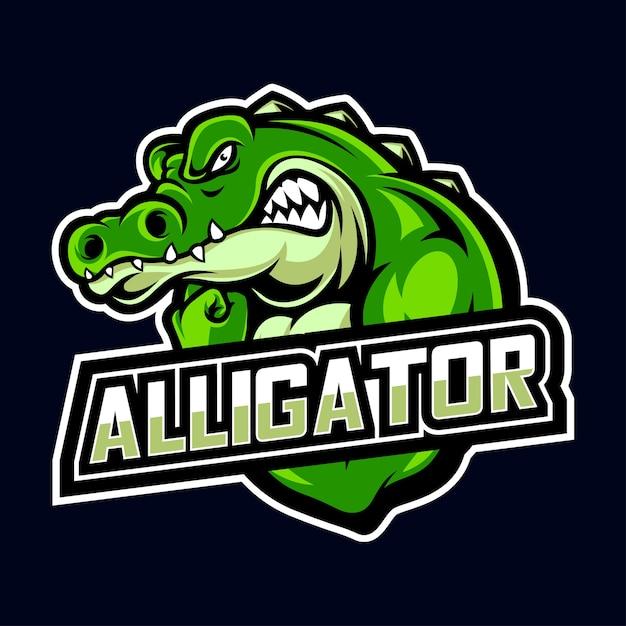 Esporte de crocodilo e logotipo esport Vetor Premium
