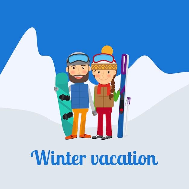 Esporte de inverno, casal de férias Vetor Premium