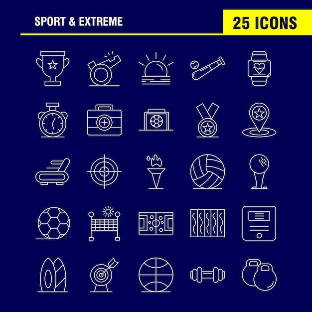 Esporte e ícone de linha extrema Vetor Premium