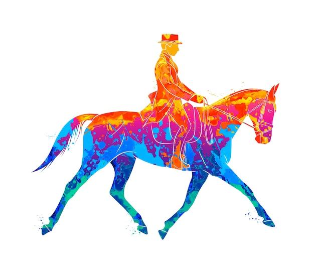 Esporte equestre abstrato de respingos de aquarelas. jóquei em uniforme a cavalo. adestramento em um fundo branco. ilustração de tintas Vetor Premium