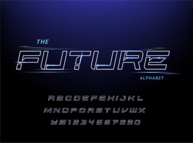 Esporte fonte futurista alfabeto moderno. fontes de estilo urbano de tipografia para tecnologia, digital, design de logotipo do filme. Vetor Premium
