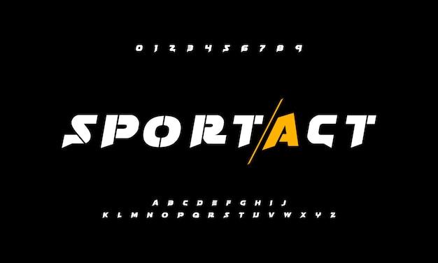 Esporte fontes aventura alfabeto de ação com estilo forte e ousado Vetor Premium