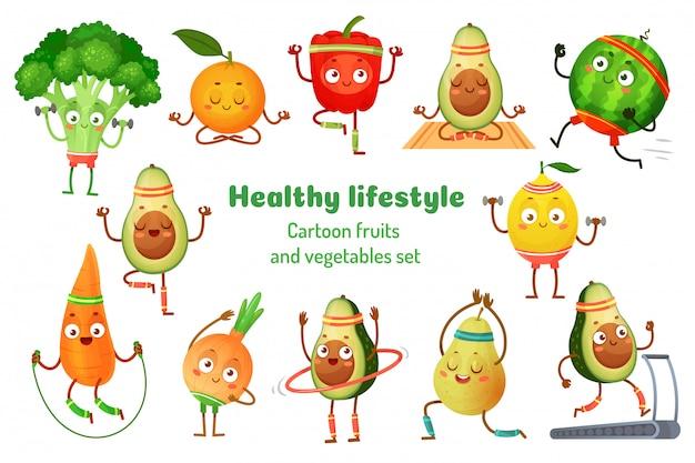Esporte frutas e legumes. mascotes de estilo de vida saudável, exercício de esportes de frutas e conjunto de ilustração dos desenhos animados de treino de ioga de abacate Vetor Premium