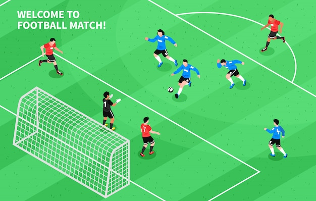 Esporte futebol futebol isométrico Vetor grátis