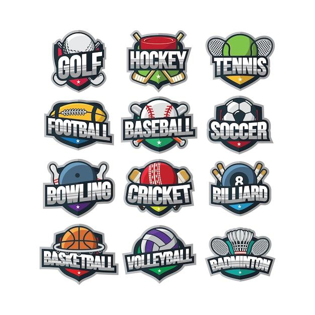 Esporte logotipo ilustração vector Vetor Premium