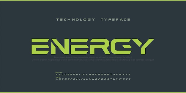 Esporte moderno futuro negrito alfabeto fonte. tipografia urbana, estilo regular e itálico, fontes para tecnologia, digital, logotipo do filme estilo negrito. Vetor Premium