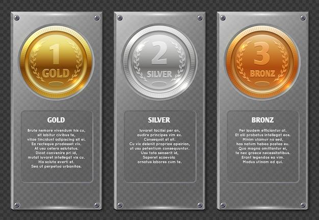 Esporte ou infográficos de negócios com medalhas de prêmio vencedores Vetor Premium