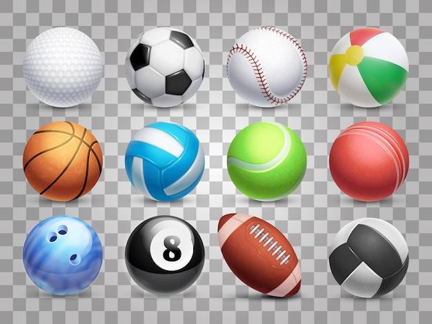 Esporte realista bolas grande conjunto isolado em fundo transparente Vetor Premium