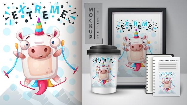 Esporte unicornand merchandising Vetor Premium