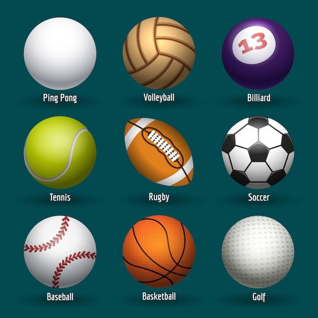 Esportes, bolas, ícones Vetor Premium