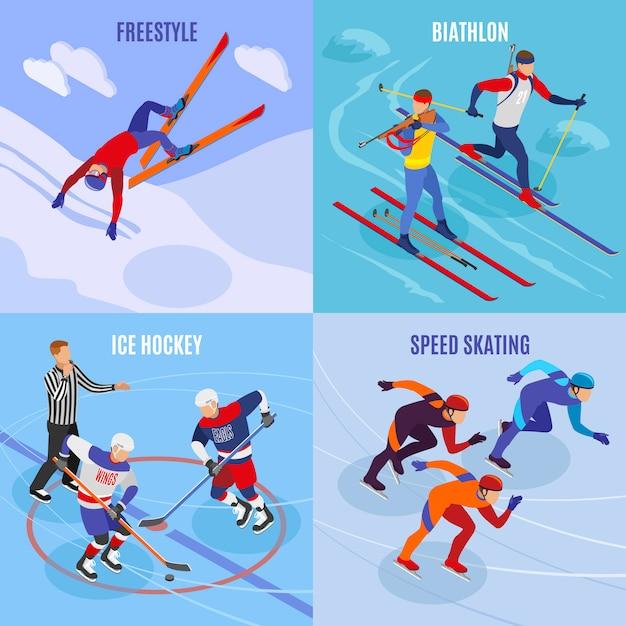 Esportes de inverno 2x2 conceito conjunto de freestyle patinação de velocidade hóquei no gelo biatlo quadrados ícones isométricos Vetor grátis
