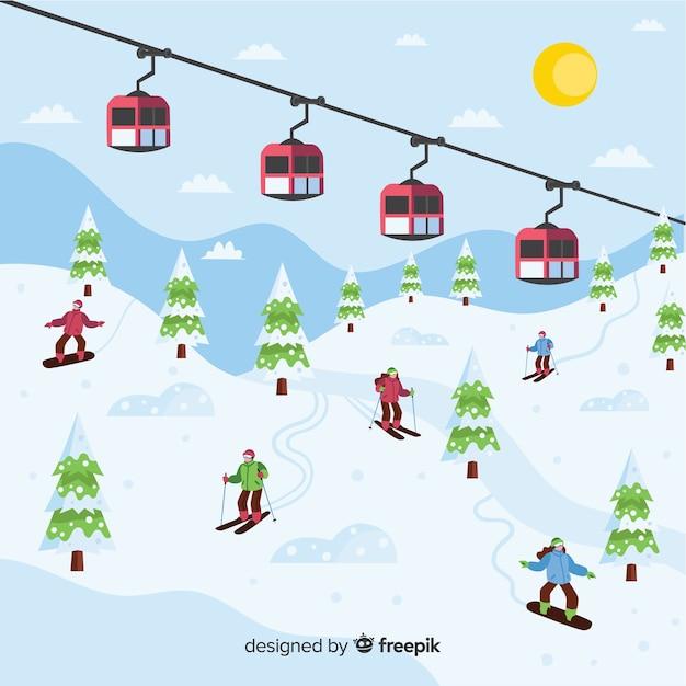 Esportes de inverno Vetor grátis