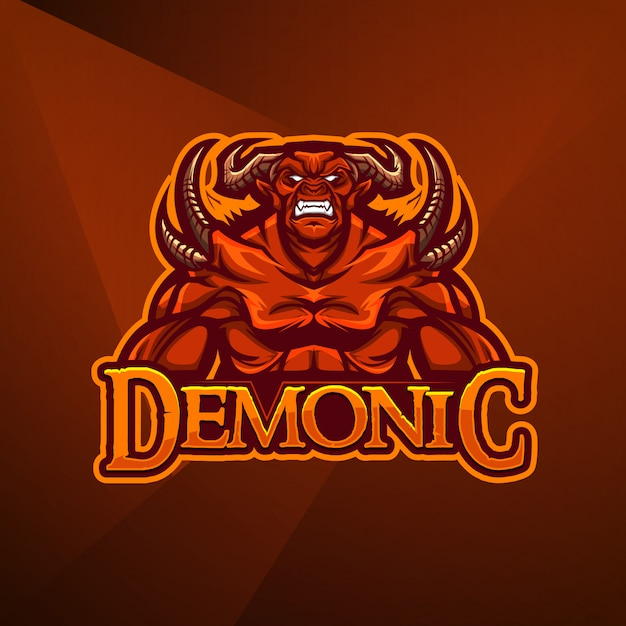Esportes mascote logotipo design vector modelo esport demônio diabo monstro inferno Vetor Premium