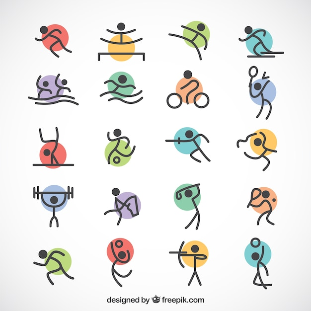 Esportes olímpicos minimalistas com círculos coloridos Vetor grátis