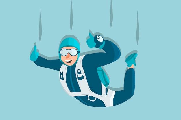Esportista de desenhos animados de mergulho Vetor Premium