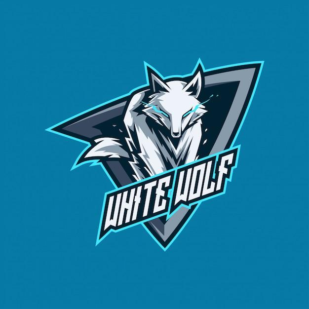 Esports do lobo branco e logotipo do jogo Vetor Premium