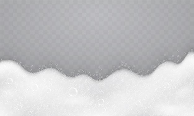 Espuma com bolhas de sabão, vista superior. fluxo de sabonetes e xampus. Vetor Premium