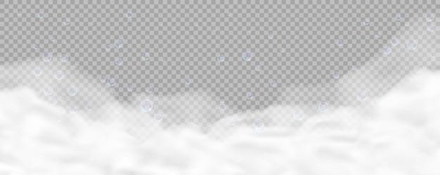 Espuma de banho com bolhas isoladas em fundo transparente. textura de espuma de sabão realista. ilustração do efeito de sobreposição de espuma de xampu, gel ou mousse. Vetor Premium