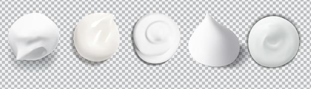 Espuma de creme para a pele gota cremosa branca para ilustração de estoque de textura de vetor de conceito de beleza isolado. Vetor Premium