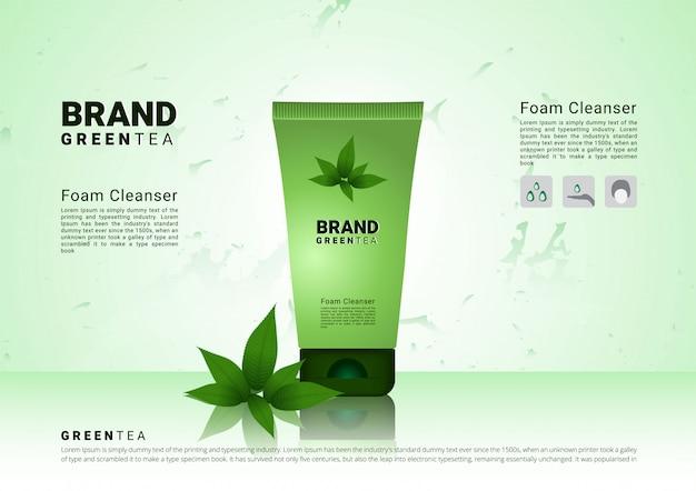 Espuma de limpeza de chá verde com Vetor Premium