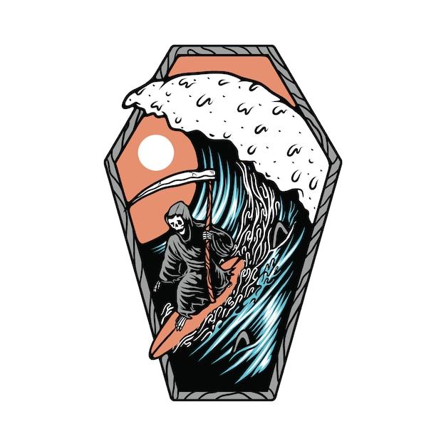 Esqueleto caveira morte verão praia ilustração surf Vetor Premium