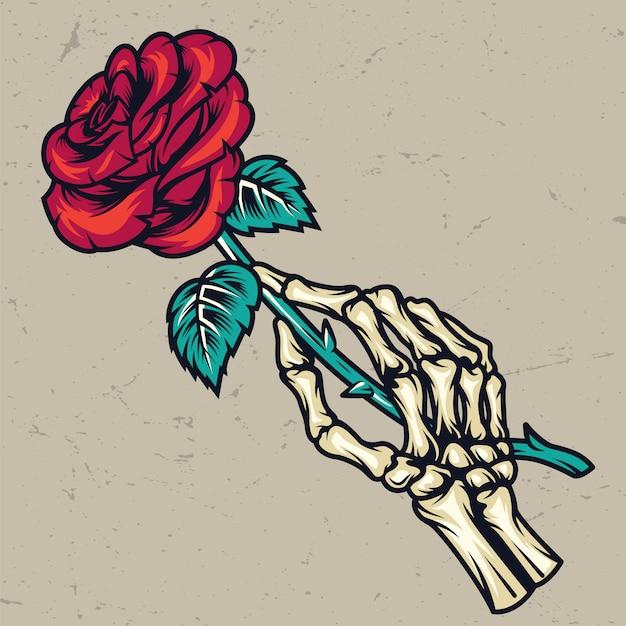 Esqueleto colorido mão segurando linda rosa Vetor grátis