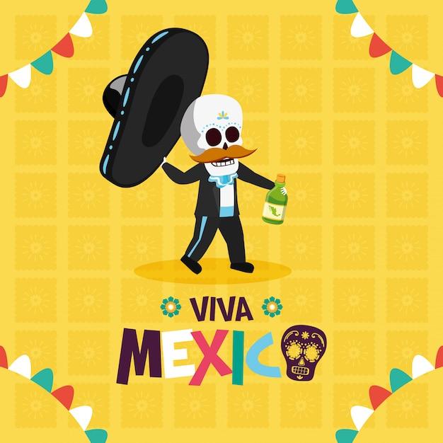 Esqueleto com chapéu e tequila para viva mexico Vetor grátis