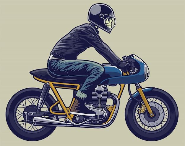 Esqueleto de ilustração de motociclista na moto Vetor Premium