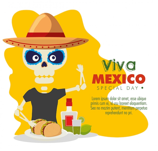 Esqueleto homem com tacos e tequila para evento de celebração Vetor grátis