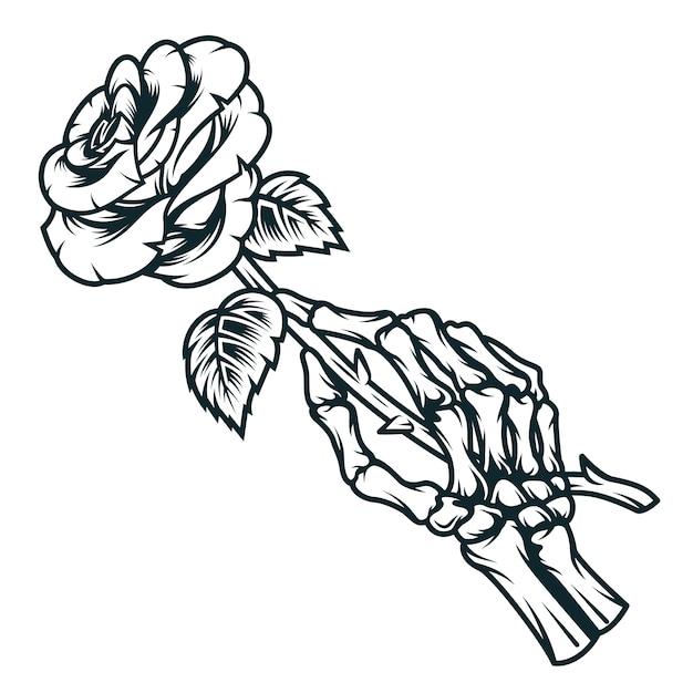 Esqueleto mão segurando flor rosa Vetor grátis