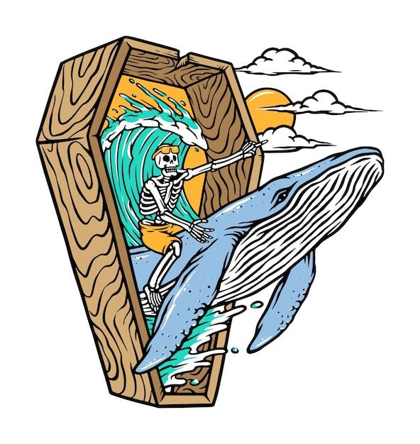 Esqueleto montado em uma ilustração de baleia Vetor Premium