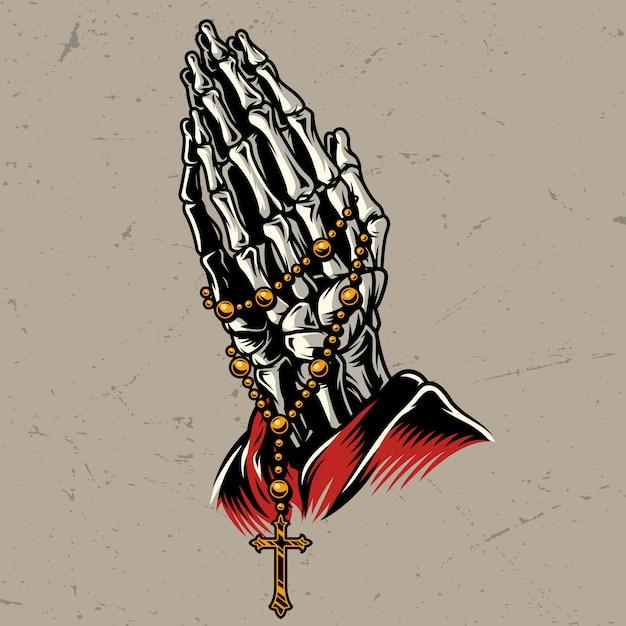 Esqueleto, orando mãos, com, rosário Vetor grátis