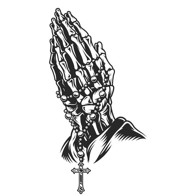 Esqueleto vintage rezando conceito de mãos Vetor grátis