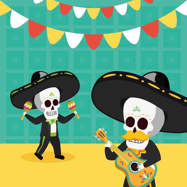 Esqueletos com violão e maracas Vetor grátis